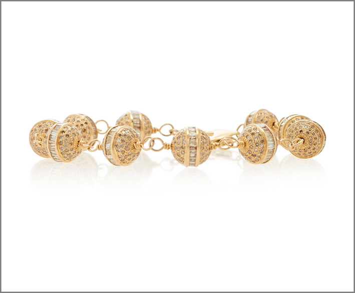 Bracciale in oro 14 carati e pavé di diamanti