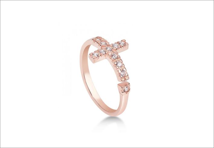 Anello in argento con galvanica oro rosa