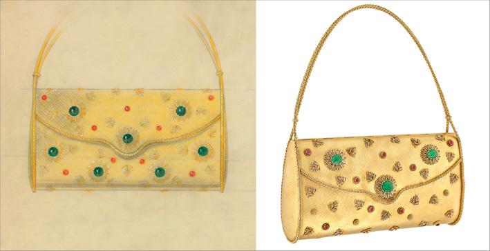 Borsetta da sera, 1964 Oro giallo, platino, smeraldi, rubini, specchio interno. Collezione Héritage