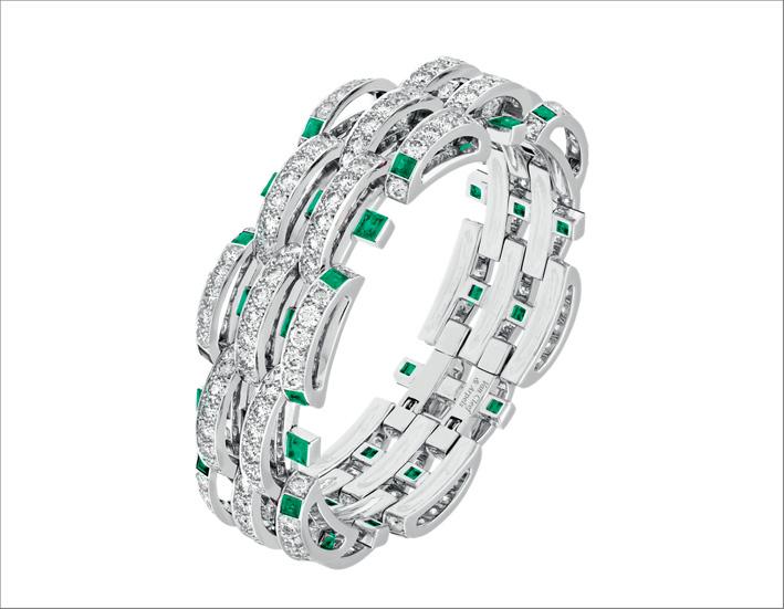 Bracciale Damita. Oro bianco, smeraldi, diamanti
