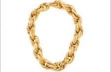 Collana intrecciata in argento placcato oro