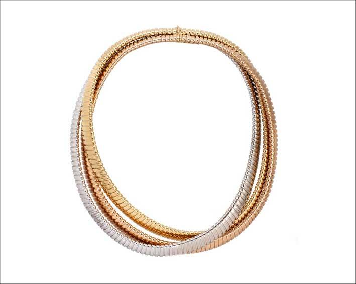 Collana in oro di tre colori