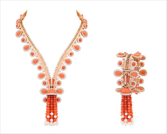 Collana Zip Antique Orient, trasformabile in bracciale. Oro rosa, corallo, perle bianche di coltura, diamanti