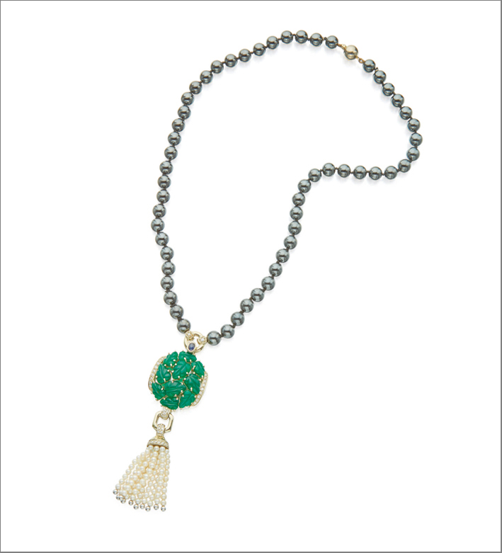 Gem set and diamond pendant necklace, Cartier