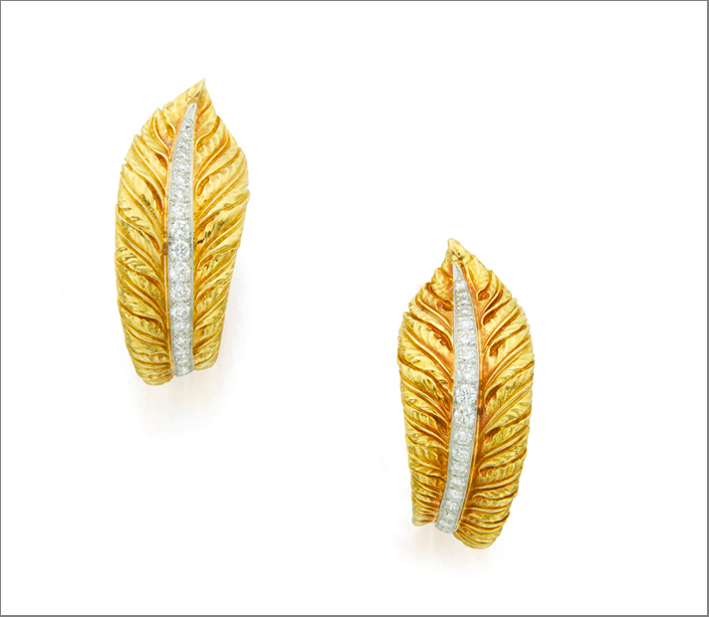 Pair of gold and diamond earclips, Verdura