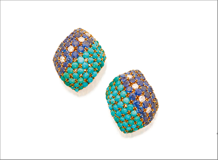 Pair of turquoise, sapphire and diamond earclips, David-Webb