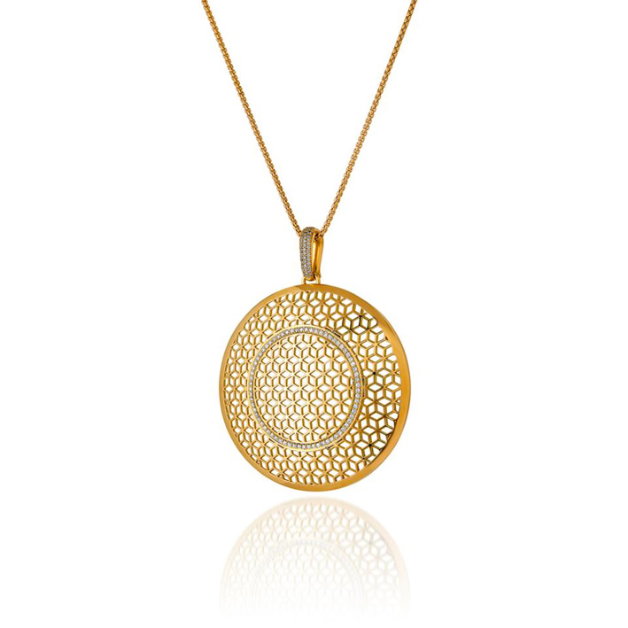 Large Hex Circle, pendente in oro 18 carati