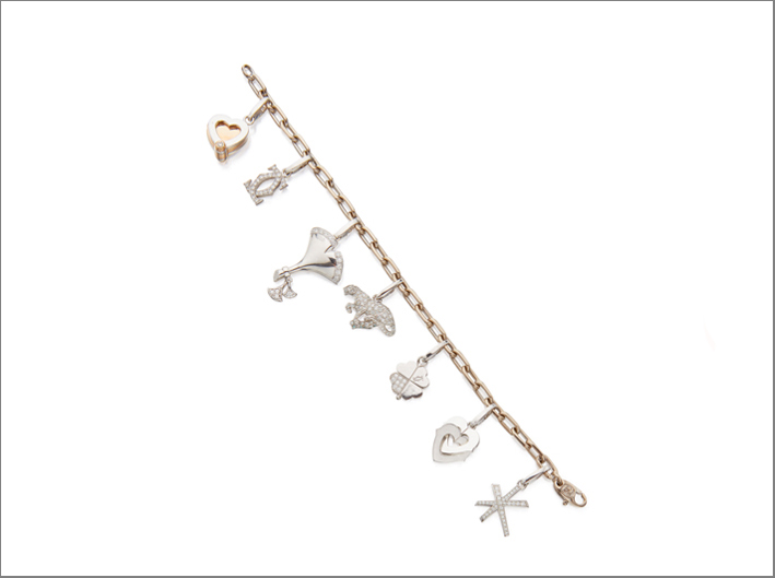 White gold and diamond charm bracelet, Cartier