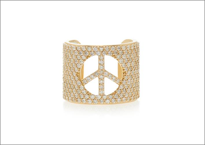 Anello in oro 14 carati e pavé di diamanti