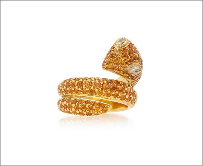 Anello Snake in oro e granati orange