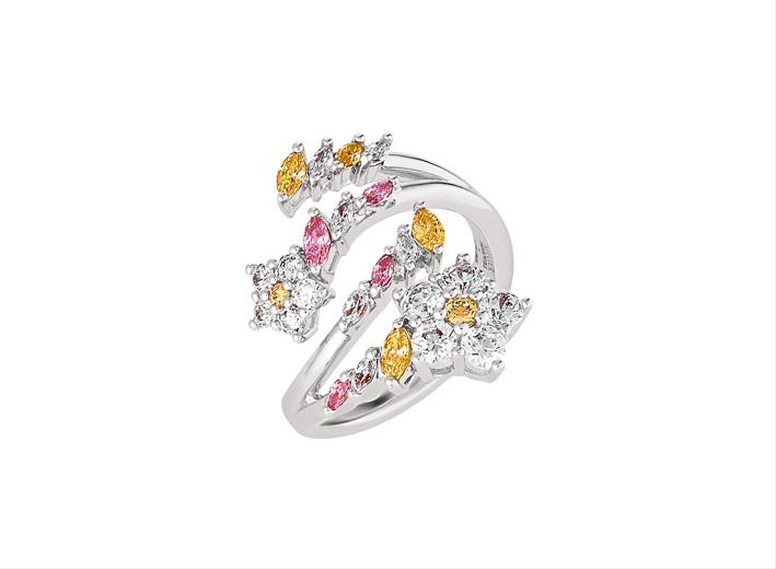 Anello con cristalli rosa e gialli