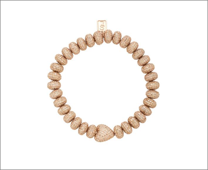 Bracciale in oro rosa 14 carati e diamanti