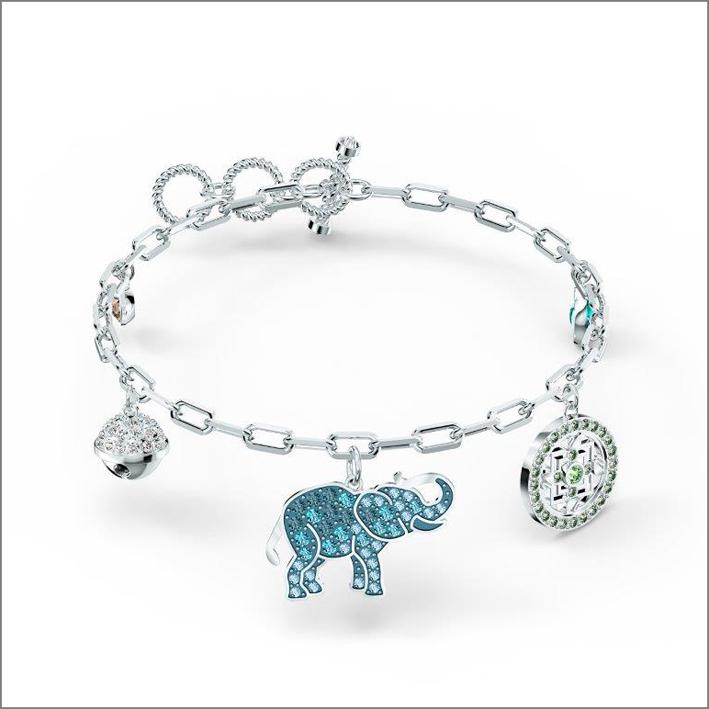 Bracciale con elefante in cristalli