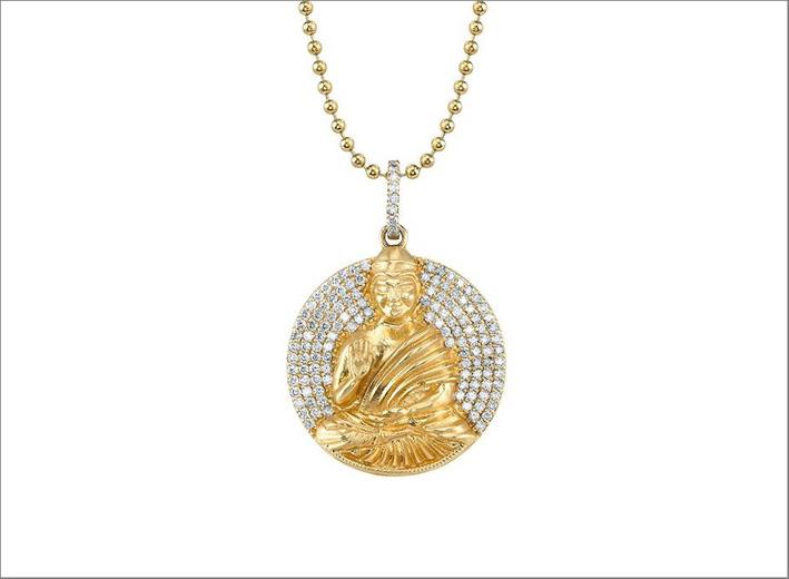Pendente in oro e diamanti a forma di Buddha
