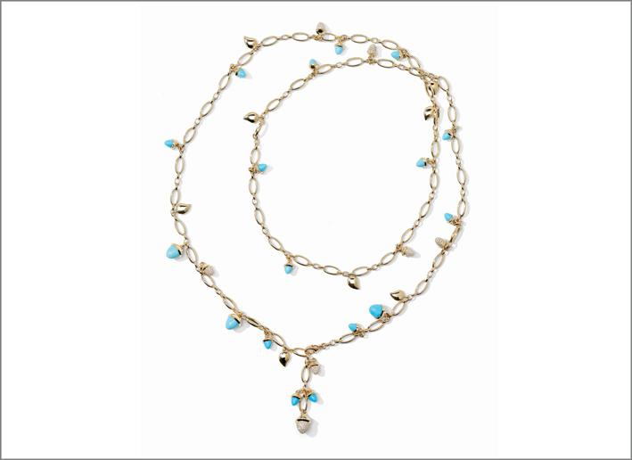 Collana in oro con turchesi e diamanti