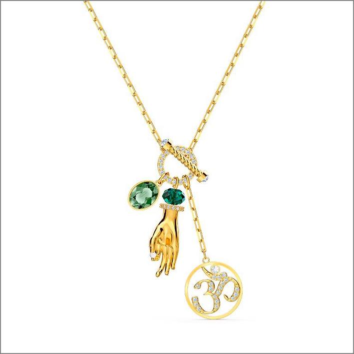 Collana con ciondoli e simbolo del segno Om