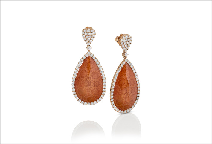 Rose gold earrings with mother of pearl, fossil coral and crystal rock triplet and diamonds