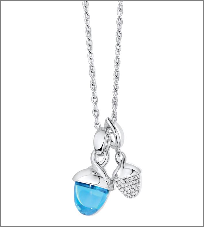 Pendenti Mikado con topazio e pavé di diamanti