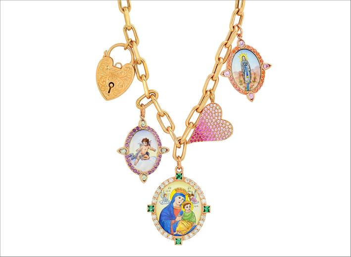 Collana Love and Lock, in oro giallo e medaglie dipinte a mano