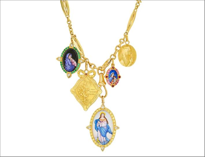 Collana in oro giallo e medaglia della Madonna dipinta a mano