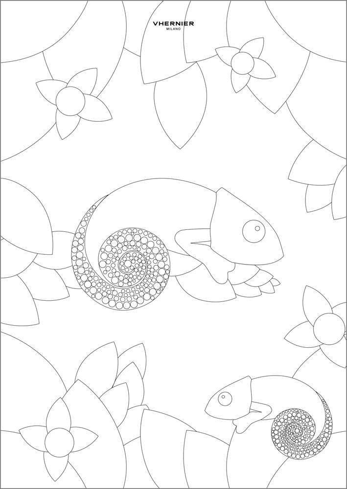 Una pagina del Colouring Book  con la spilla Camaleonte