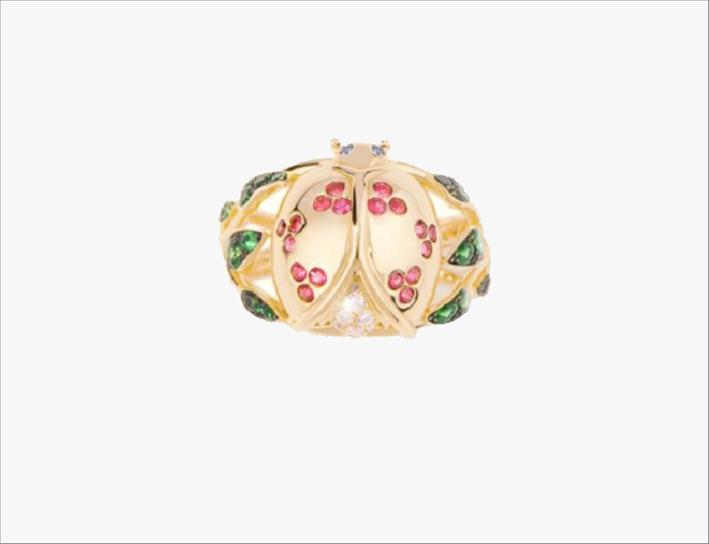 Anello Coccinelle in oro giallo con diamanti, rubini, zaffiri e tsavoriti