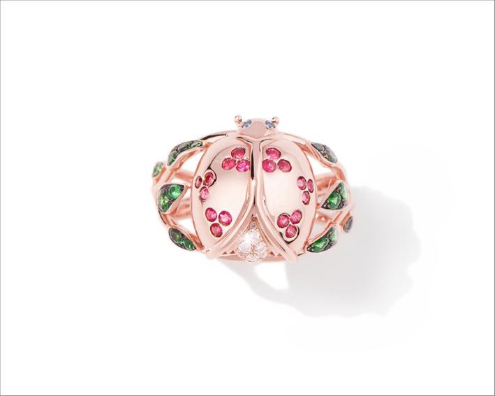 Anello Coccinelle in oro rosa con diamanti, rubini, zaffiri e tsavoriti