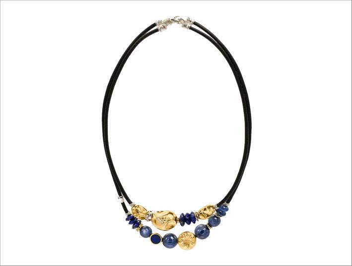 Collana in oro, argento, cianite, diamanti, e doppio laccio in cuoio