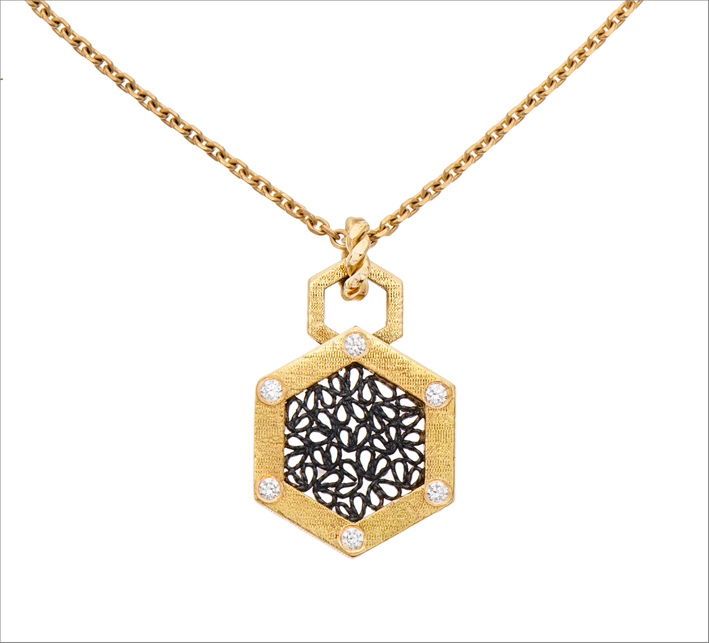 Collana Hexagon in oro, argento e diamanti