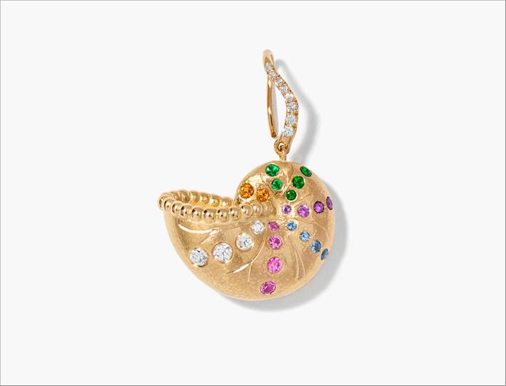 Anello chiocciola Nautilus in oro giallo, zaffiri multicolori, tsavoriti, ametiste, diamanti