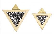 Orecchini in oro 18 carati, argento ossidato
