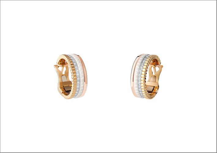 Orecchini in oro rosa, giallo, diamanti e ceramica bianca