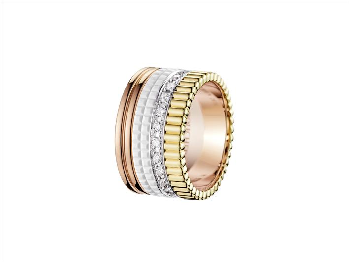 Anello Quatre di Boucheron in oro rosa, bianco, giallo e diamanti