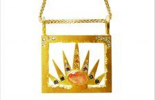 Collana Miami, in oro 18 carati, diamanti, zaffiri rosa, gialli, blu, diamanti, corallo, rodosite