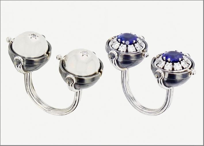 Anello Toi & Moi in oro bianco, diamanti, zaffiri