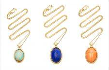 Collane in oro 18 carati con opale, lapislazzulo e corallo