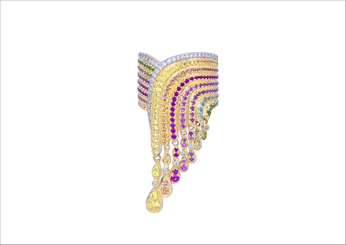 Anello con nappa arcobaleno, oro 18 carati, apatiti, zaffiri, diamanti, tsavoriti