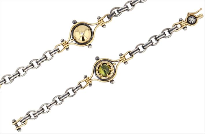 Bracciale in oro giallo, argento, diamanti, tormalina verde