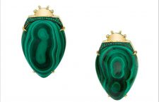 Daniela Villegas, orecchini in oro giallo 18 carati, smeraldi, malachite
