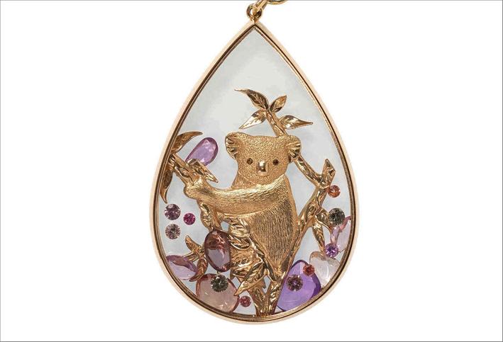 Collana con pendente orsetto, in oro rosa 18 carati, zaffiri e diamanti