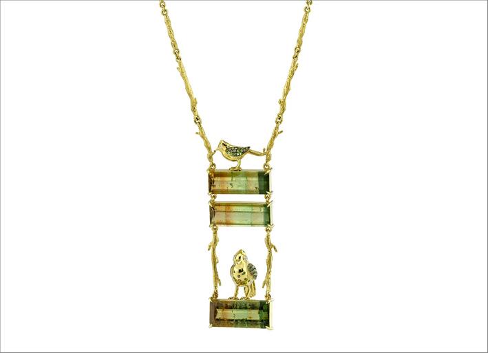 Collana Fairywren, oro giallo 18 carati, zaffiri marroni, tormaline, tsavoriti, diamanti