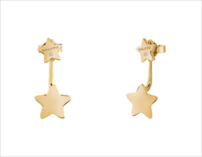 Orecchini stella in oro giallo