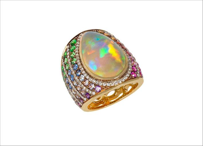 Anello Rainbow con opale, ametiste, zaffiri, tsavoriti