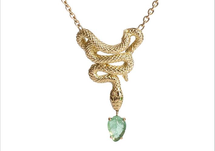 Collana Snake in oro giallo 18 carati, smeraldi, tormalina, diamanti