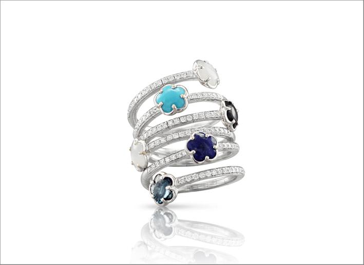 Anello in oro bianco, turchese, topazio Blu London, pietra di luna, lapislazzuli e onice