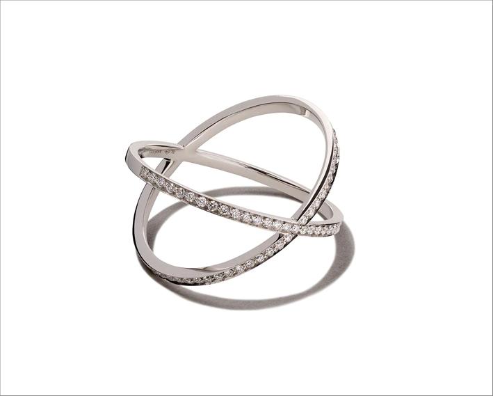 Anello Physalis in oro bianco 18kt e diamanti