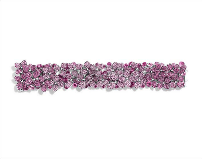 Bracciale in platino con zaffiri rosa e diamanti