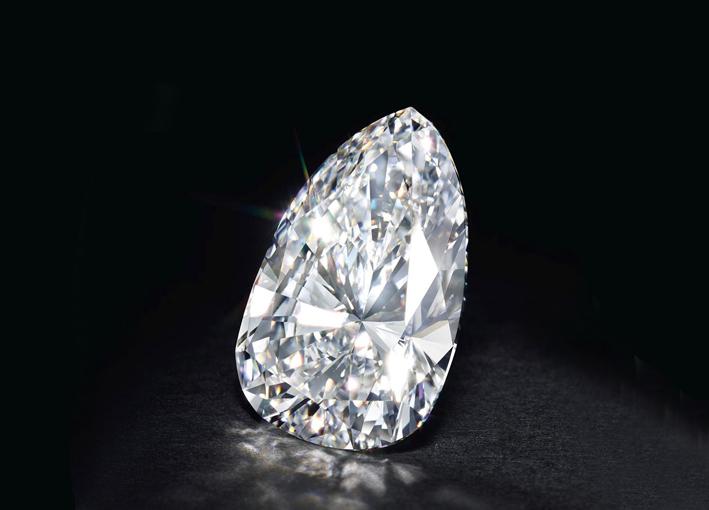 Diamante di qualità VVS1, colore F, di 115,8 carati a forma di pera