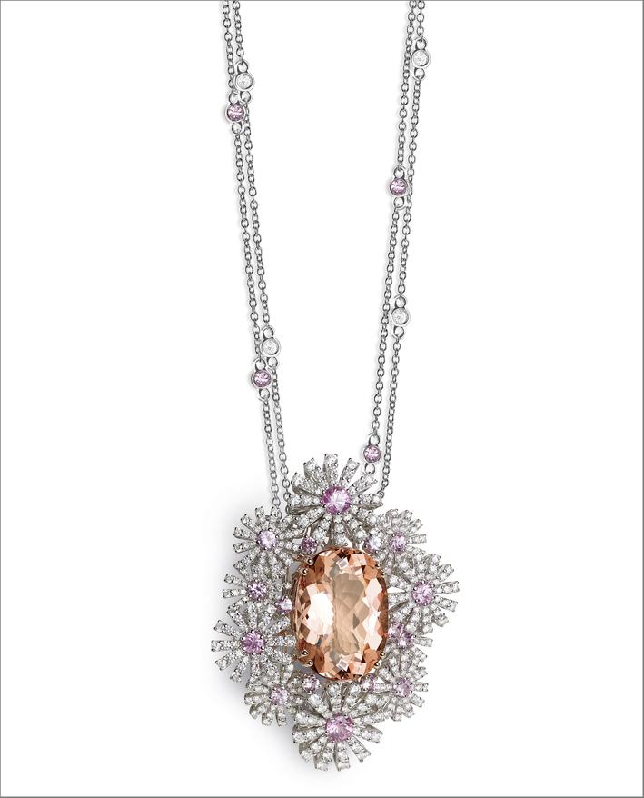 Pendente con diamanti, zaffiri rosa e morganite