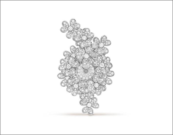 Orologio con segreto in oro bianco e diamanti